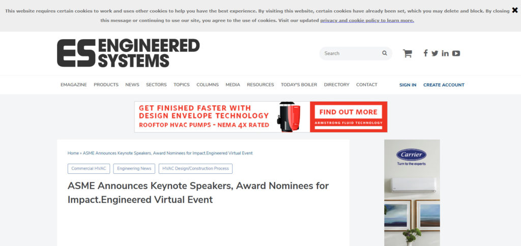 ASME Announces Keynote Speakers, Award Nominees for Impact.Engineered Virtual Event
